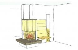 Heizkamin mit beheiztem Rückenschild und Holzsitzbank