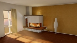 Kamin mit breitem Feuertisch